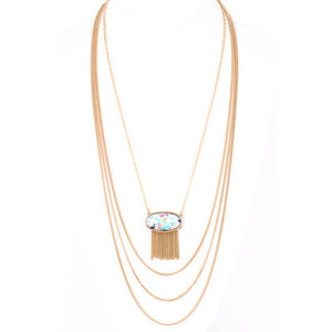 Semi precious stone three layered necklace - Debs Boutique  LLC
