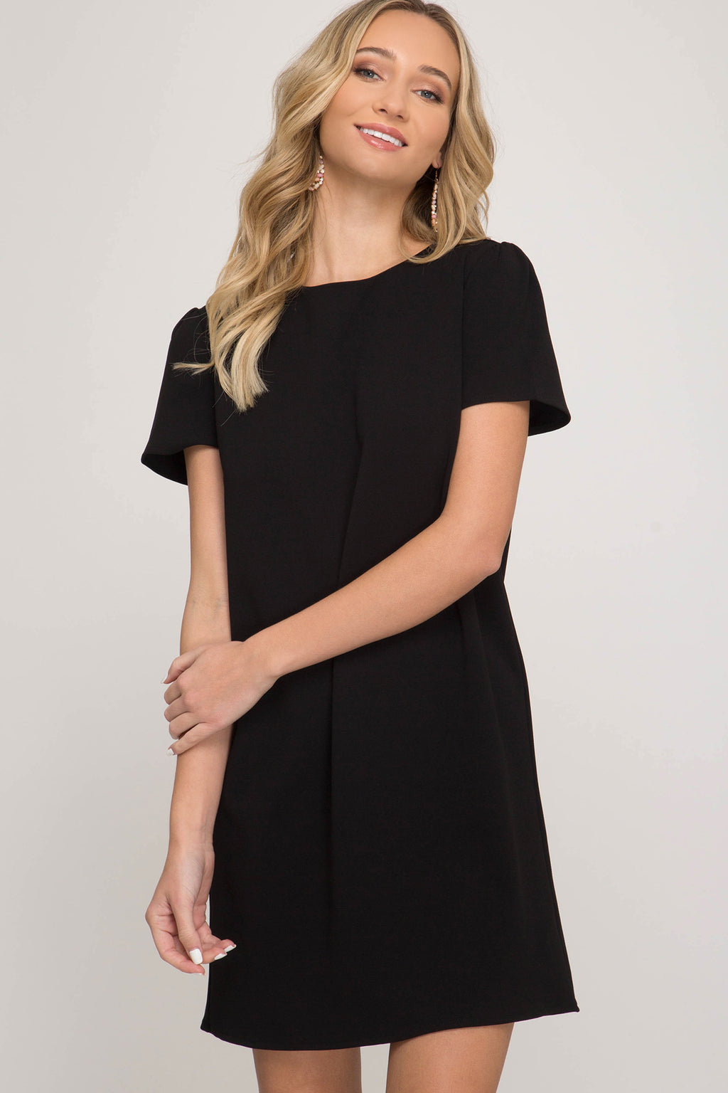 Short Sleeve Heavy Knit Shift Dress
