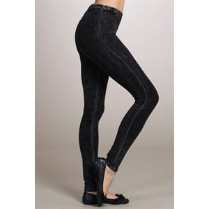 Mineral Wash Leggings with Elastic Waistband - Debs Boutique  LLC