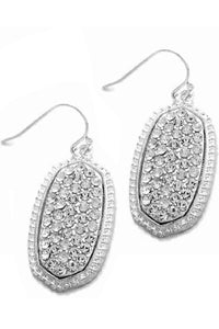28mm Worn Oval Casting Earrings with Crystal Stones