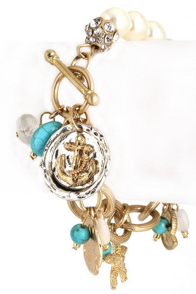 Assorted nautical charms chain bracelet - Debs Boutique  LLC