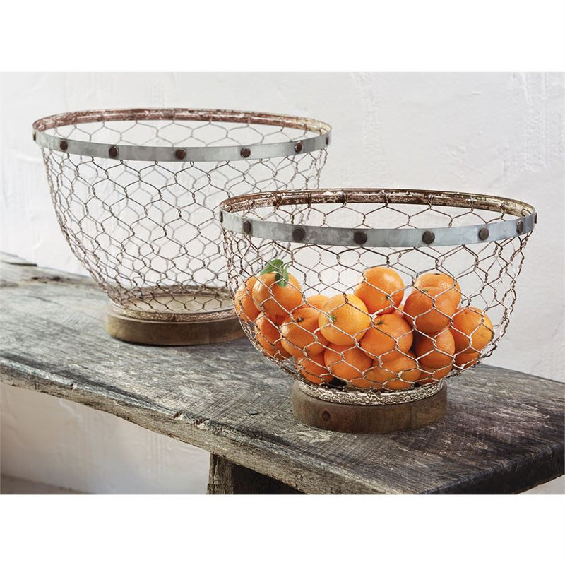 Chicken Wire & Tin Bowl Set