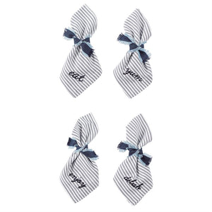 French Ticking Embroidered Bistro Dinner Napkin Set