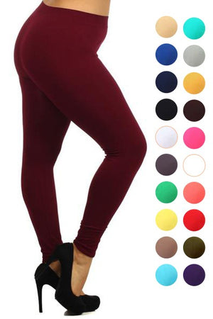 Lady's Plus Size Solid Color Nylon Leggings