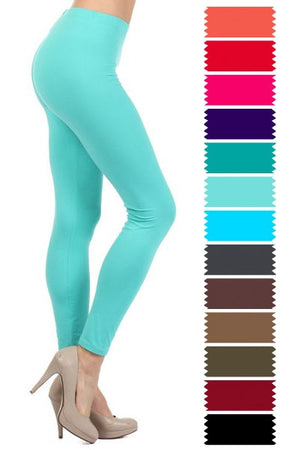 Solid High Waist Microfiber Legging