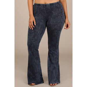 Mineral Washed Bell Bottom Pants with Elastic Waist-Plus Size - Debs Boutique  LLC