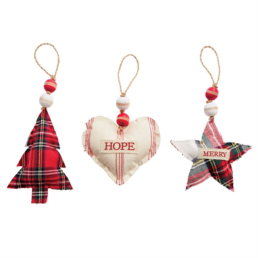 Tartan Stuffed Cotton Ornaments