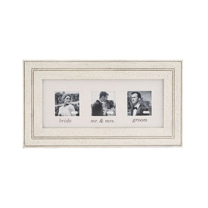 Wood & Linen Triple Wedding Frame