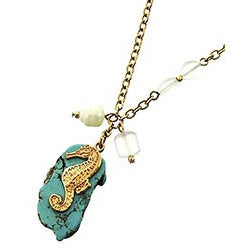 Seahorse and Stone Long Necklace - Debs Boutique  LLC