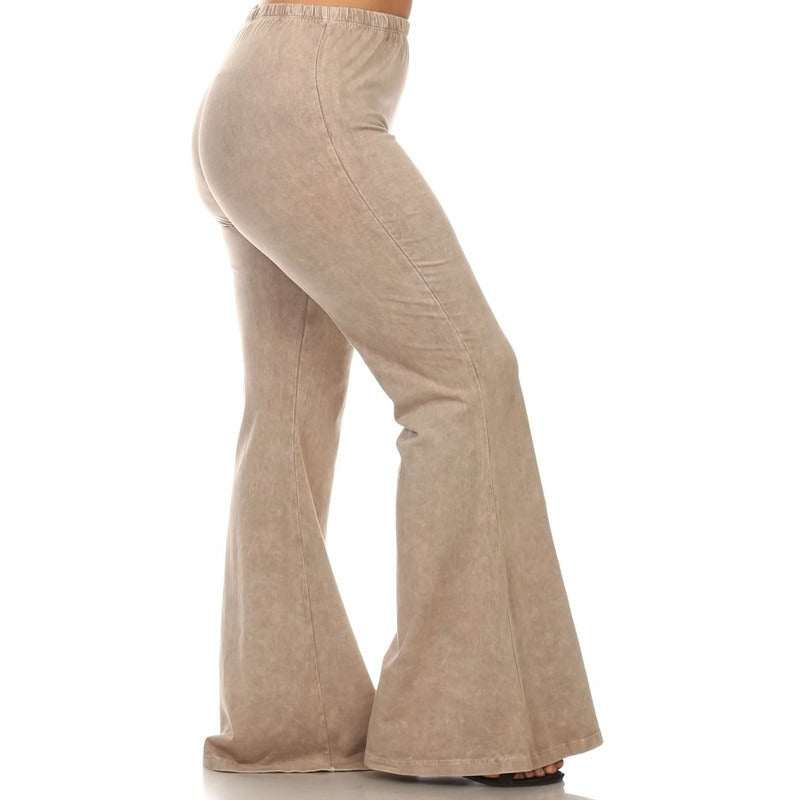 Mineral Washed Bell Bottom Pants with Elastic Waist - Debs Boutique  LLC