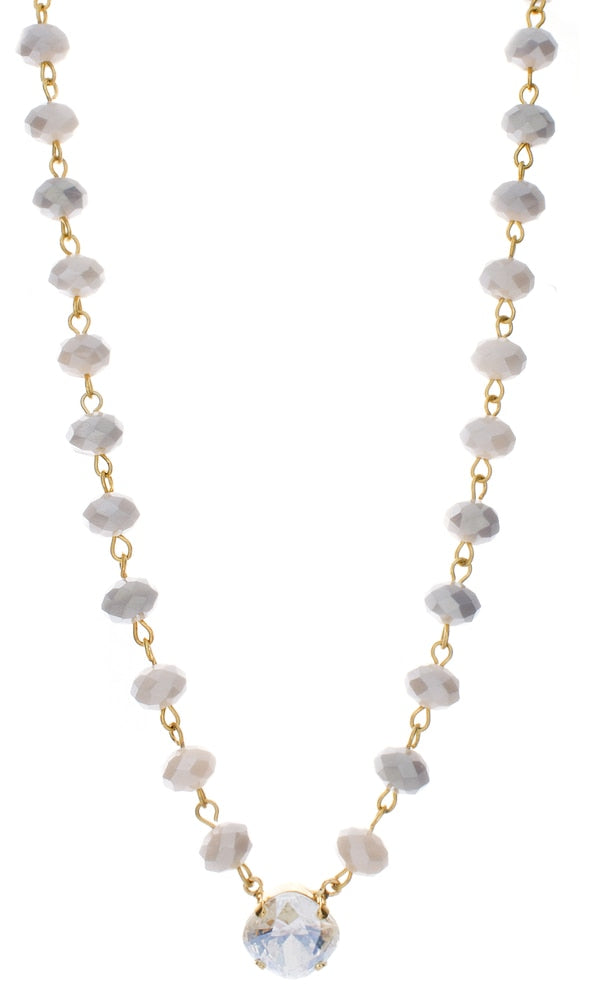 12mm Crystal Chain Necklace with Grey/Cream Mix Stones