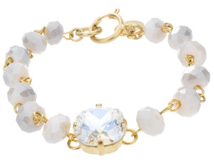 12mm Crystal Chain Bracelet - Goldtone