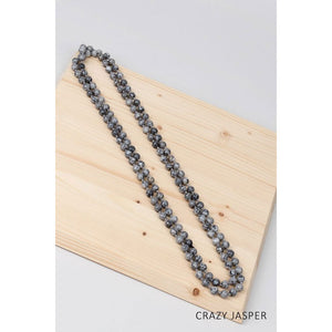 Natural Stone Beaded Long Necklace - Debs Boutique  LLC
