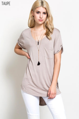 V Neck Rolled up Sleeve Top with Short Sleeves  and Side Slits - Debs Boutique  LLC
