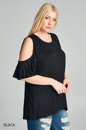 Cold Shoulder Top w/Ruffle Sleeves - Debs Boutique  LLC