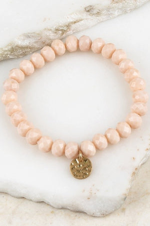 Bead Stretchable Bracelet with Textured Gold Charm
