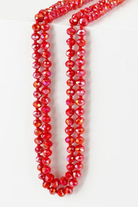 "60"" Colored Glass Bead and Knotted Thread Necklace"