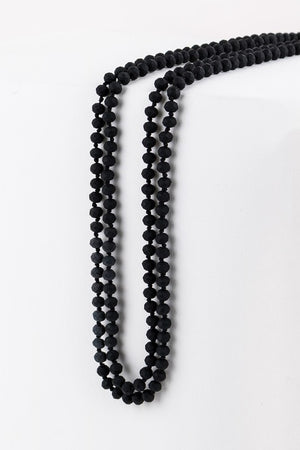 "6mm Frosted Matte Bead and Gold Seed Bead 80"" Necklace"