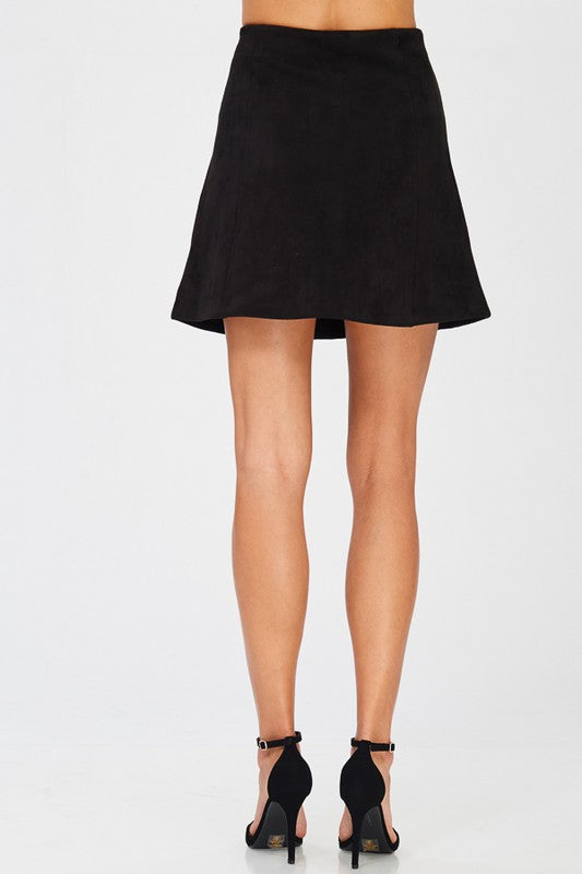 Faux Suede Button Down Front Mini Skirt