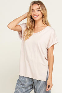 V Neck Rolled Up Short Sleeve Top