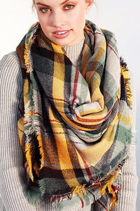 Multi Color Plaid Blanket Scarf