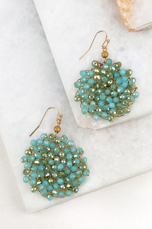 Crystal Wire Link Beaded Circle Hook Earrings