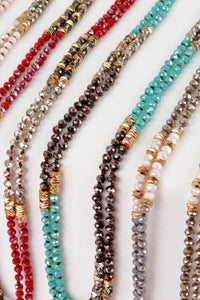 Crystal and Metal Bead Long Knotted Necklace