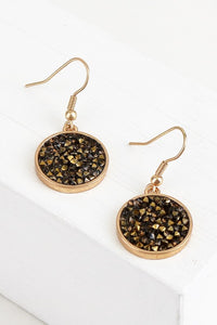 Glitter Stone Circle Hook Earrings