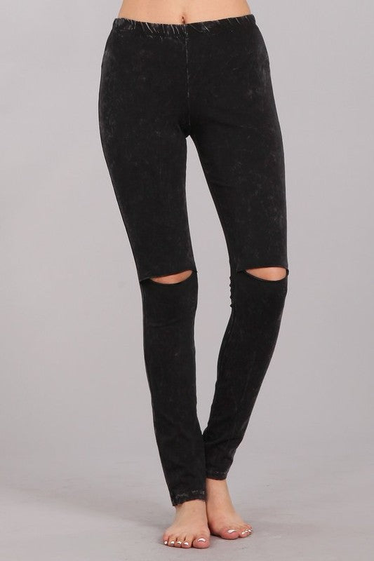 Mineral Washed Legging with Knee Slits