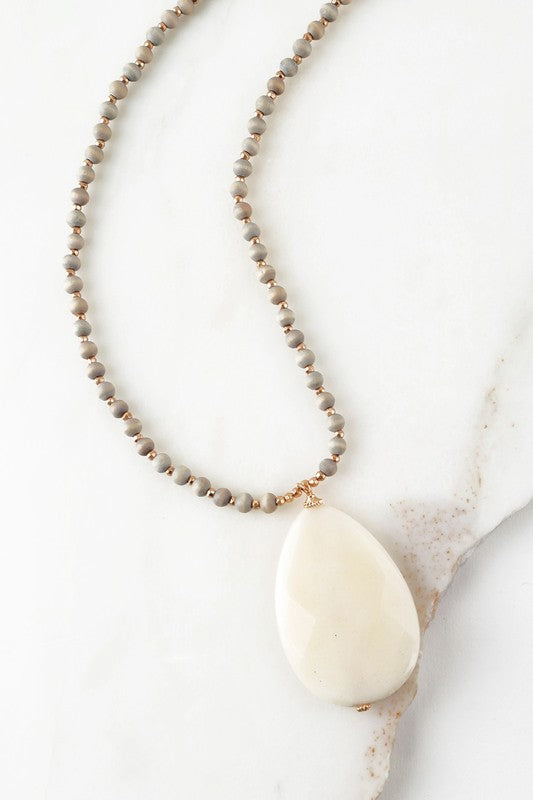 Tear Drop Natural Stone Pendant Necklace