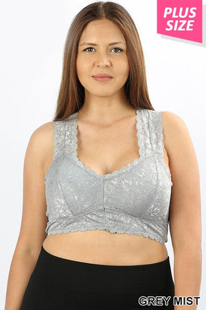 Plus Size Padded Lace Stretch Bralette