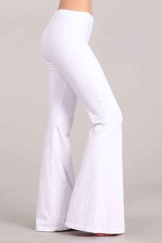 Mineral Washed Bell Bottom Pants with Elastic Waist