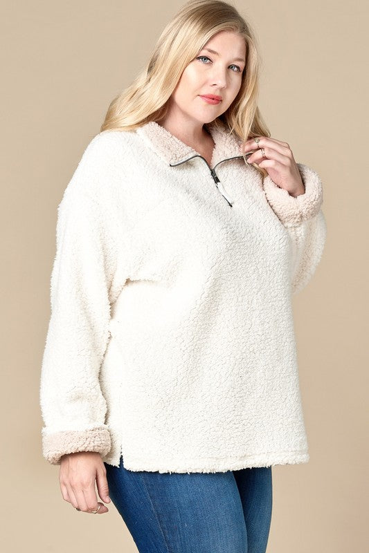 Sherpa Sweater with Zip Up Turtleneck Collar
