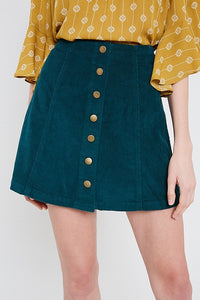 High Waisted Cotton Corduroy Button Up Skirt