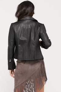 Long Sleeve Faux Leather Biker Jackets w/Pockets