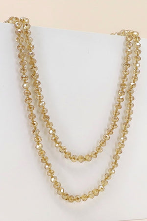 "8mm  Crystal Beads Necklace 60"" Long"