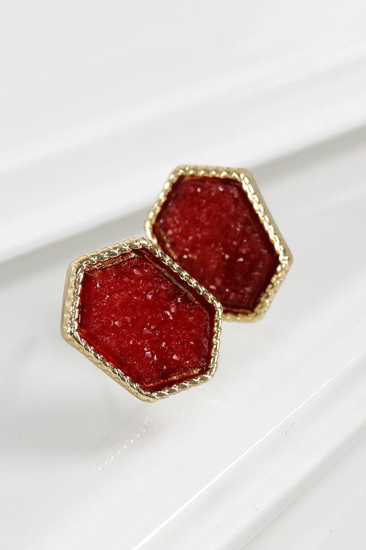 Dainty Marquee Shape Druzy Post Earrings