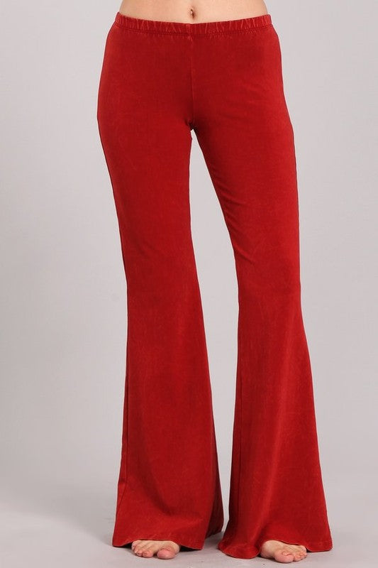 Mineral Washed Bell Bottom Pants with Elastict Waist