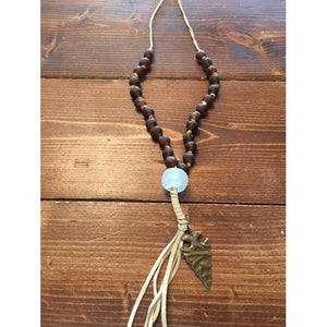 Faith, Hope, Love Tan Suede African Glass Tassel Necklace - Debs Boutique  LLC
