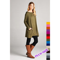 Solid Tunic w/Side Pocket in Plus Size - Debs Boutique  LLC