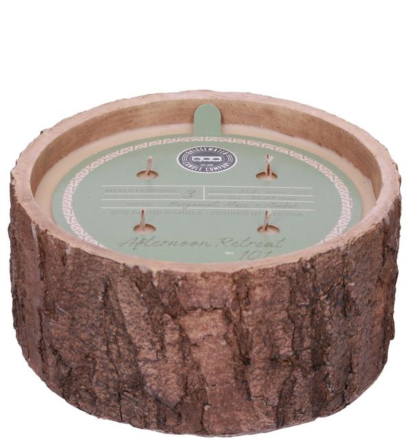 Afternoon Retreat Faux Bark Finish Candle