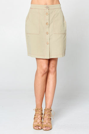 Button Front Mini Skirt w/Front Pocket