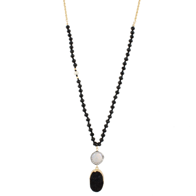 "32"" Jet Beads and Gold Chain Necklace with Jet Druzy, - Debs Boutique  LLC"