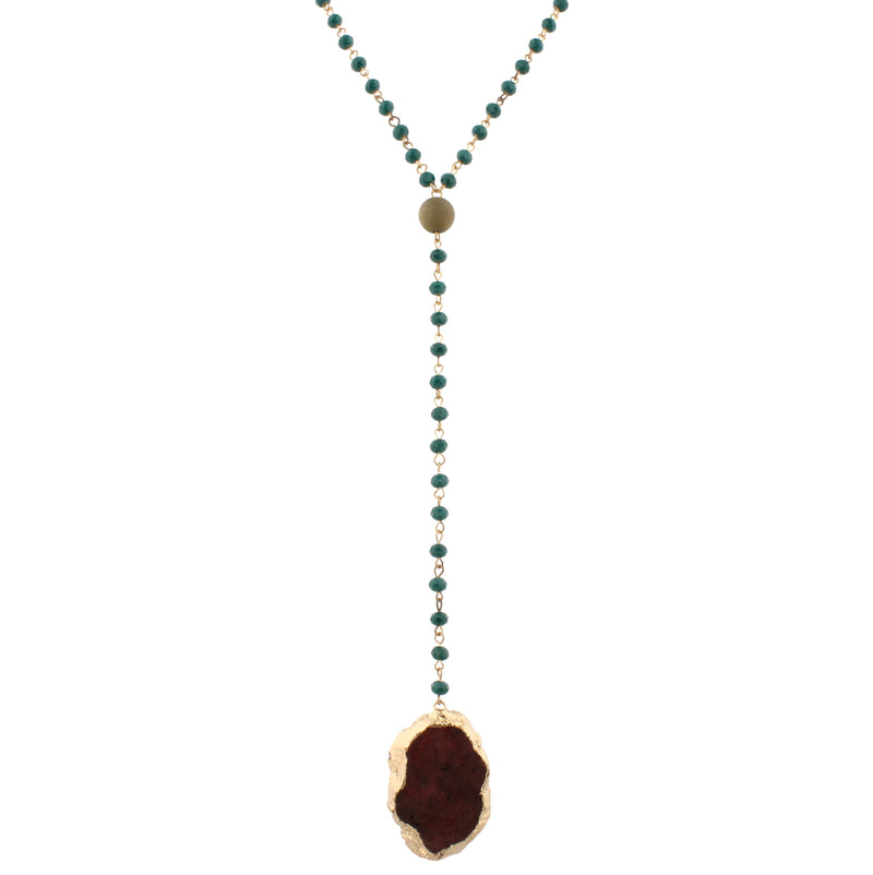 "46"" Hunter Green Beaded Lariat with Druzy"