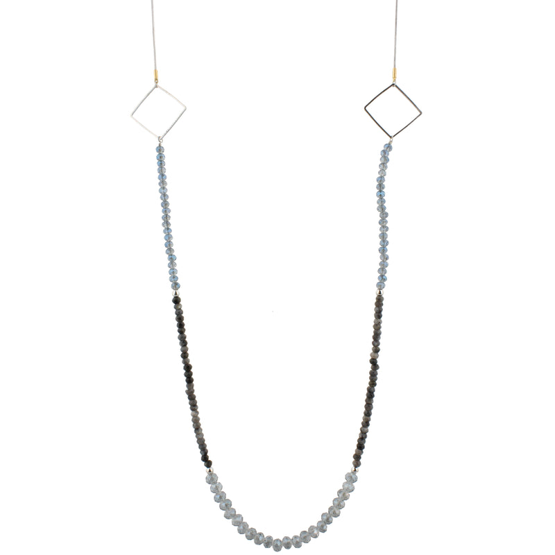 "18""- 48"" Silver Snakechain Adjustable Delicate Blue & Labrodite Beaded with Square Stations"