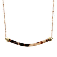 "14"" Gold Chain, Curved Resin Bar, 3"" Ext."