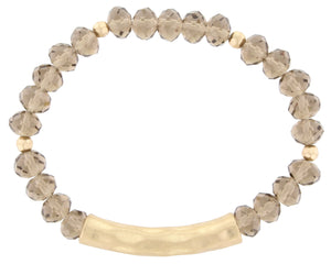 Faceted Beads with Hammered Worn Gold Bar - Debs Boutique  LLC