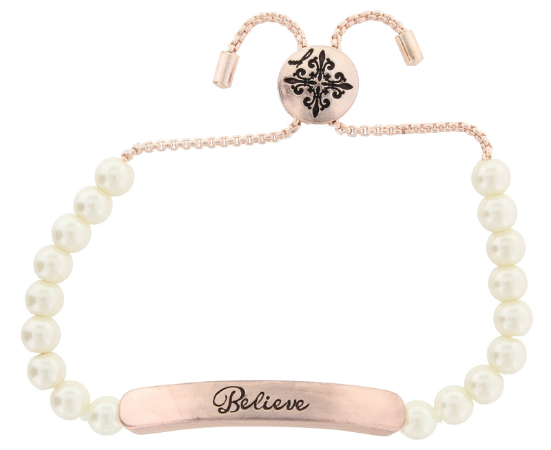 "White Pearl and Rose Gold Chain Adj. Bracelet with Rose Gold ""Believe"" Bar - Debs Boutique  LLC"