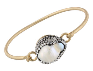 Pave Druzy on Worn Gold Latch Bracelet - Debs Boutique  LLC