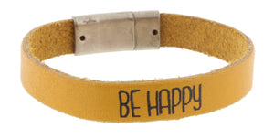 Leather Magnetic Bracelet with Saying